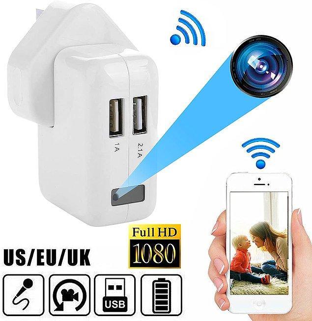 3. Güvenlik monitörü, gizli kamera, bebek odası monitörü, dadı kamerası, toplantı kaydedici ve çok daha fazlası olarak kullanılabileceğiniz bir şarj cihazı.