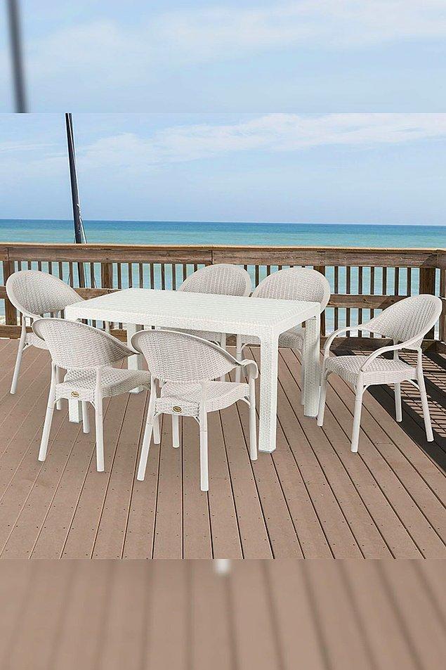 2. Rattan masa sandalye takımı, yeri geniş olanlar için ideal. Fiyatı da gerçekten çok uygun.