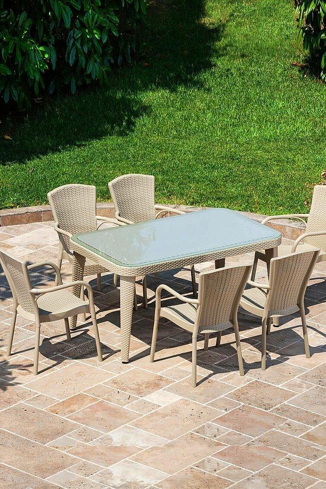 11. Rattan bahçe mobilyasında en sevdiğim renk açık renkler... Bu masa takımı da hem kaliteli hem şık hem de uygun fiyatlı.