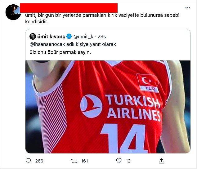 Ümit Kıvanç'ın attığı tweeti alıntılayan bir mahluk ise ''ümit, bir gün bir yerlerde parmakları kırık vaziyette bulunursa sebebi kendisidir.'' yazarak alenen Eda Erdem'i tehdit etti.