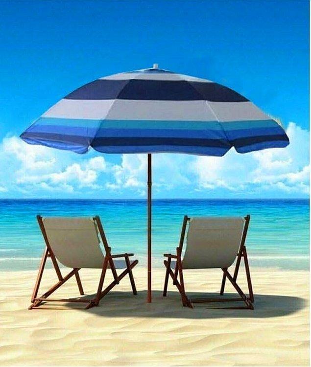 3. Kumsalda kullanmalık güneş şemsiyesi...