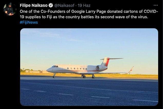 Habere göre Larry Page Fiji'ye büyük miktarda sağlık malzemesi bağışı yapmıştı ve tüm bu malzemeler kendi özel uçağı ile ülkeye gönderilmişti.