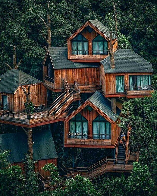 17. Çin'deki Hangzhou'da bulunan bu modern ağaç ev.