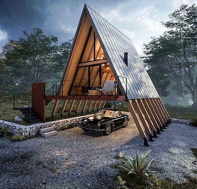 33. Dahice dizayn edilmiş modern kabin. Araba park edilecek bir yer bile var.