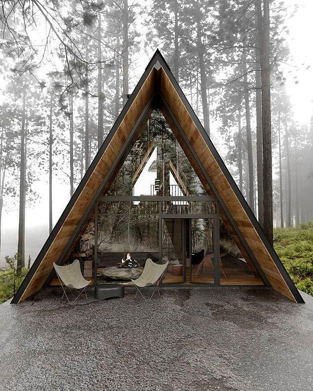 49. Kaliforniya'daki Tahoe Gölün'e bakan bu kabin.