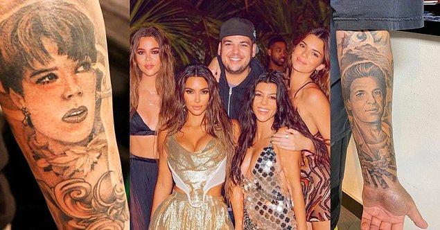 10. Kardashian ailesinin tek erkek çocuğu olan Rob Kardashian da babası Robert ve annesi Kris'in portrelerini kollarına kazıtmış.