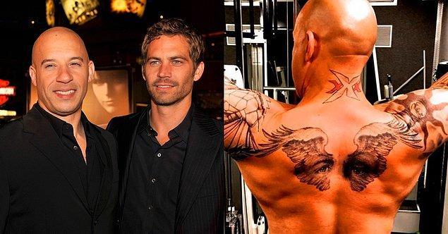 12. 'Hızlı ve Öfkeli' yıldızı Paul Walker'ın ölümü sonrasında set arkadaşı Vin Diesel onun gözlerinin dövmesini yaptırmış.