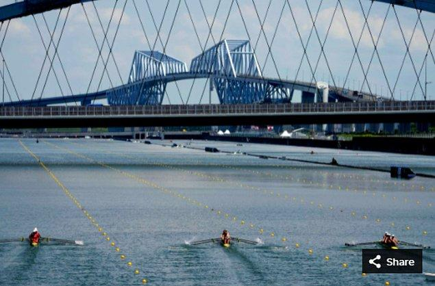 38. 27 Temmuz 2021'de Rowan McKellar, Harriet Taylor, Karen Bennett ve Rebecca Shorten (GBR), Sea Forest Waterway'deki Tokyo 2020 Olimpiyat Oyunları sırasında kadınlar elemesinde yarışıyor.