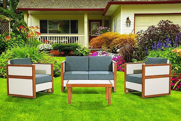 21. Benim bahçe mobilyam da salon mobilyam gibi gözüksün isteyenler için sudan etkilenmeyen bir takım.