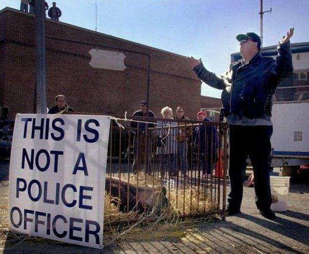 Bir polis memuruna 'domuz' diyen adam, sokağın köşesinde bir domuzla beraber 'bu bir polis değildir' pankartı taşıdı.