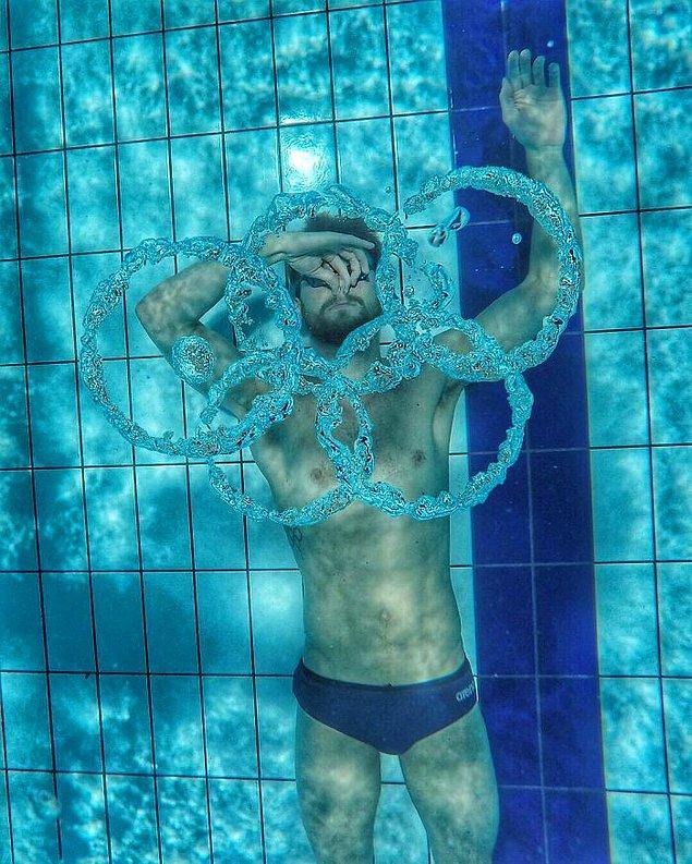 3. Olimpiyatlar'a duyduğu sevgiyi gösteren Hollandalı yüzücü Sebastiaan Verschuren: