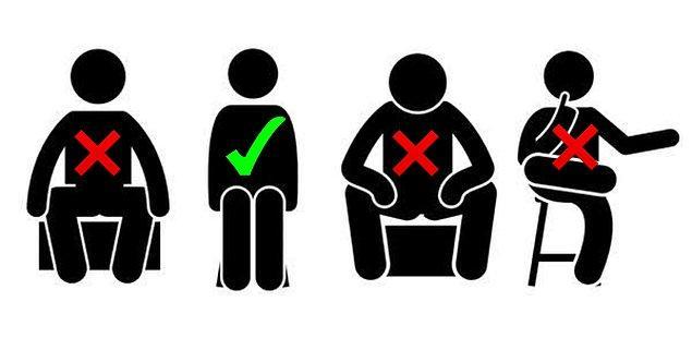 12. Oturmak. Topuklar ve dizler birbirine bitişik, ayak uçları hafif dışarı bakar şekilde oturulur. Erkekler ise dizelerini çok ayırmadan oturmalıdır.