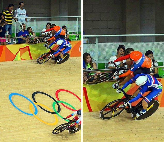15. 2016 Rio Olimpiyatları'nda bisikletini kulvar duvarında bile sürmeye devam eden Hollandalı Laurine Van Riessen: