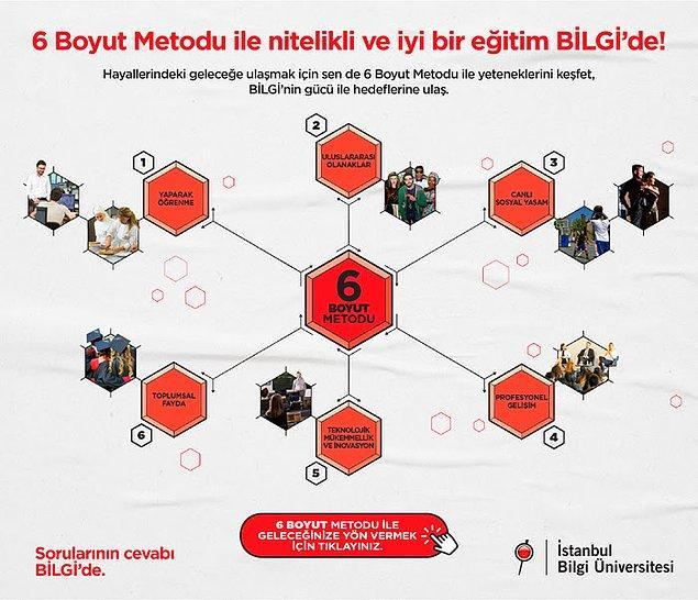 Tüm bu olanaklar İstanbul Bilgi Üniversitesi'nde seni bekliyor. BİLGİ Tercih Günleri Başladı! 6 Boyut Metodu ile yeteneklerini keşfedebileceğin nitelikli bir eğitim almak istersen sen de BİLGİ Tercih Günleri'ne katılarak aklındaki sorulara yanıt bulabilirsin.
