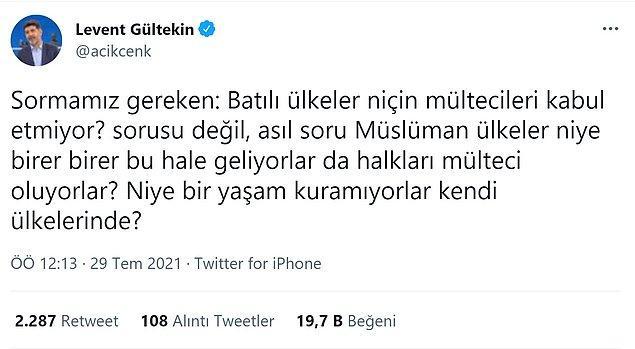 Yazar ve gazeteci Levent Gültekin bu  konu hakkındaki düşüncelerini Twitter hesabından dile getirdi.