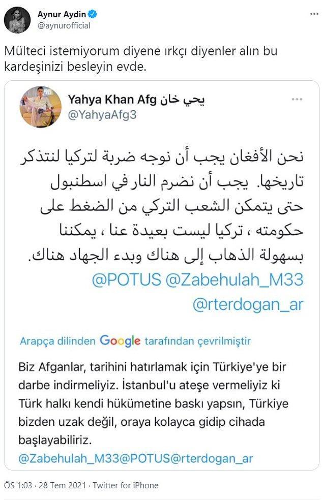 Şarkıcı Aynur Aydın ise ''Mülteci istemiyorum'' diyenlere ırkçı denilmesine tepki gösterdi.