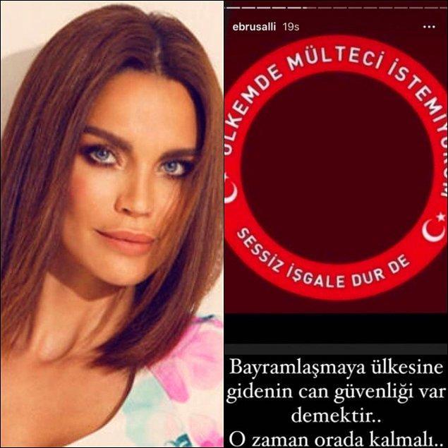 Ardından ünlü model Ebru Şallı da tıpkı Arzu Sabancı gibi Instagram hikayesinde ''Ülkemde mülteci istemiyorum. Sessiz işgale dur de'' paylaşımı yaptı.