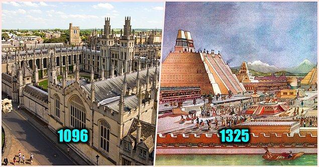 21. Oxford Üniversitesi Aztek İmparatorluğu'ndan 300 yıl önce kurulmuştur.