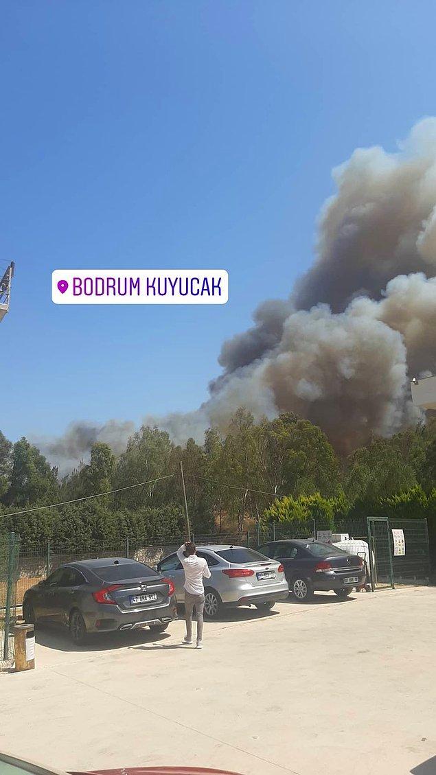 Bodrum'da başlayan yangından görüntüler