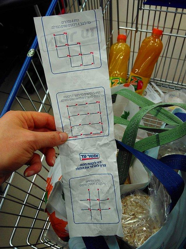 8. İsrail'deki bir süpermarket, fişin arka sayfasına zekâ oyunu basıyormuş.