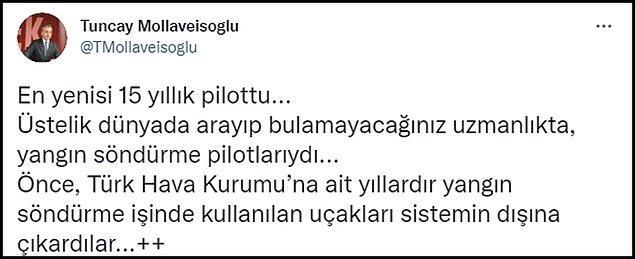 Mollaveisoğlu, THK ile ilgili sözlerini Twitter paylaşımlarında da tekrarladı. 👇