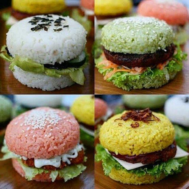 """3. """"Japonya'da pirinç her öğünün vazgeçilemez malzemesidir. Hamburger yerken 'pilav olsa da yesek' diye düşünenler için pirinç burger bile yapıyoruz!"""""""