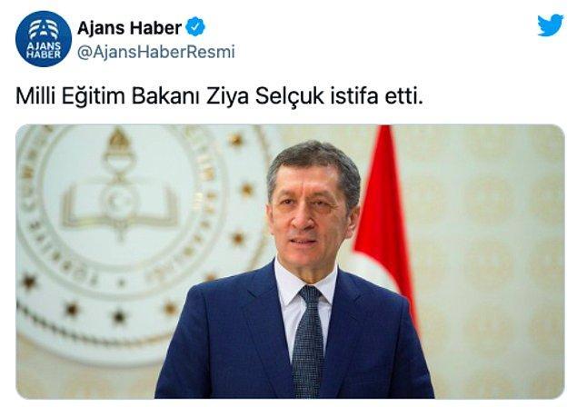 Ajans Haber sitesi de Selçuk'un istifa ettiğini duyurdu