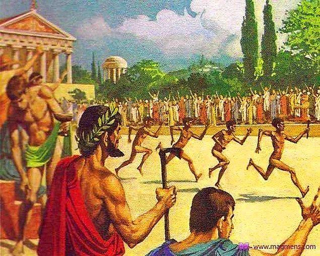 13. Antik Olimpiyatlarda sporcular yarışmalarda çıplak şekilde performans sergilediler.