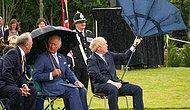 İngiltere Başbakanı Boris Johnson'ın Şemsiye ile Mücadelesi Gündem Oldu