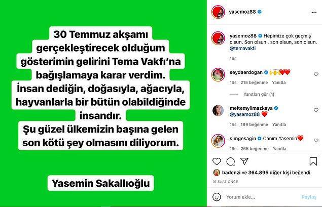 Yasemin Sakallıoğlu gibi isimler gelirlerini TEMA Vakfı'na bağışlayacaklarını böyle açıkladılar mesela.