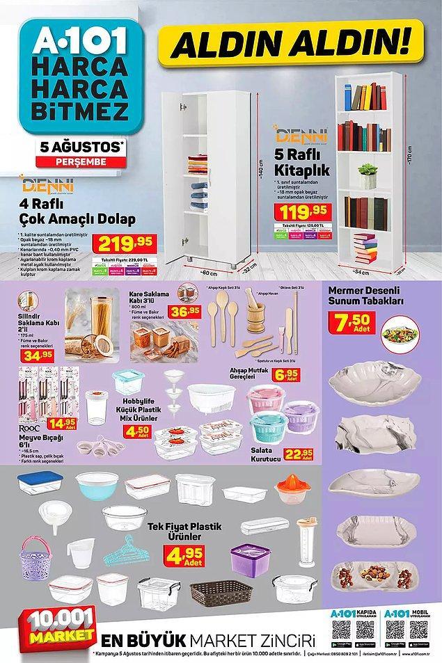 Plastik ürünlerde tek fiyat kampanyası var. Her biri 4,95 TL.