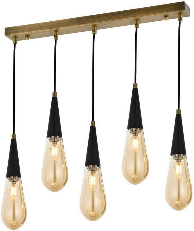 19. Beşli sarkıt lamba hem çok şık hem de çok modern!