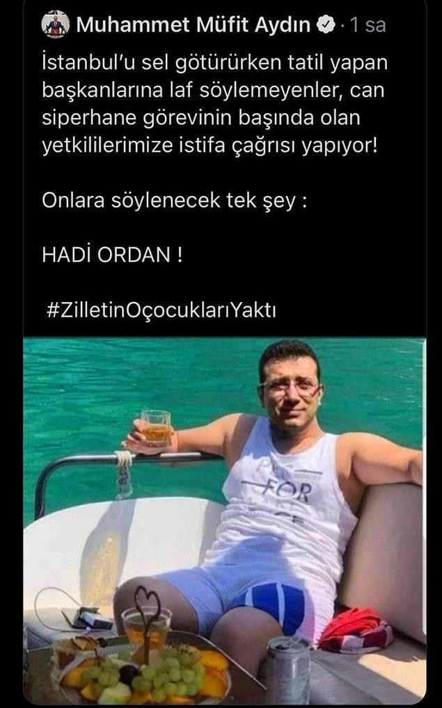 Aydın'ın paylaştığı montajlı fotoğraf ve kullandığı etiket tepki çekti.
