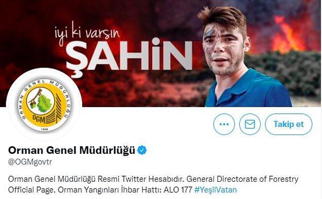 """Orman Genel Müdürlüğü ise kapağına Akdemir'in fotoğrafını koyarak """"İyi ki varsın Şahin"""" yazdı."""