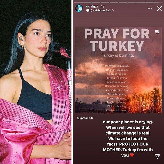 4. Ünlü şarkıcı Dua Lipa'dan Türkiye'ye destek geldi: