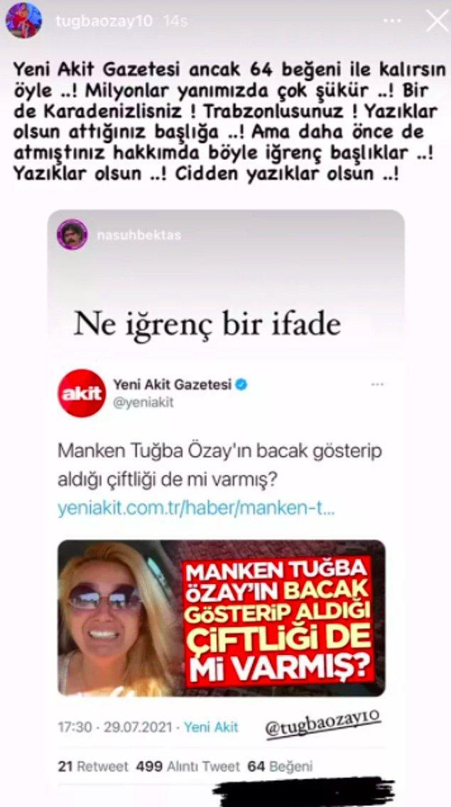 Ve Tuğba Özay'dan Yeni Akit'in manşetine yanıt geldi: