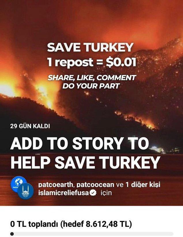 """Instagram'da """"Türkiye'yi Kurtarın"""" isimli bir hikaye dolanıyor ve paylaşım başına 0.01 dolar bağışlanacağı söyleniyor."""