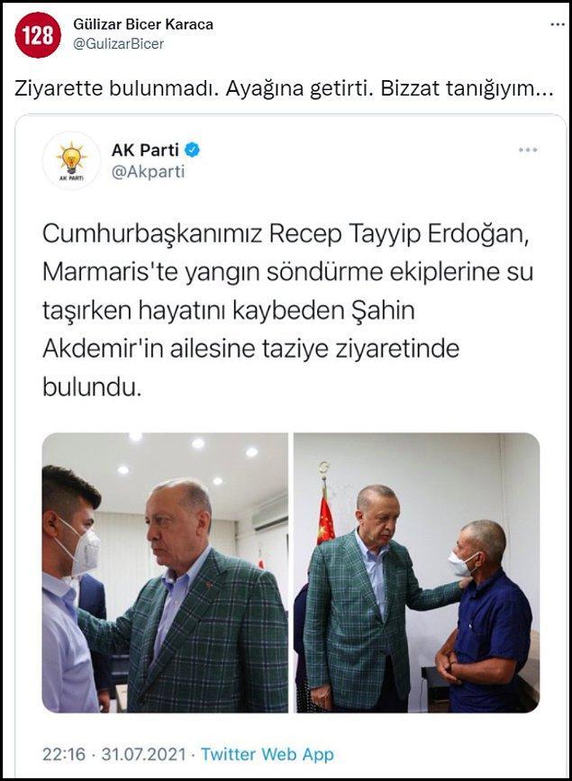 """CHP Denizli Milletvekili Gülizar Biçer Karaca ise bu paylaşımla ilgili  """"Ziyarette bulunmadı. Ayağına getirtti. Bizzat tanığıyım…"""" dedi. 👇"""