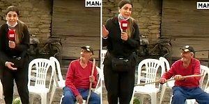 Manavgat'ta Yangın Haberi Yapan Kadın Muhabiri Değneği ile Dürten Dayı