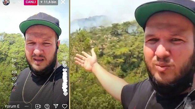 """Dün """"Buranın arkası Bayırköyü ve tamamen yanmış durumda. Şelale 3 gündür yanıyor. Yangın Turgutlu köyüne ilerliyor"""" diyen Şahan Gökbakar yetkililerden acilen yardım istemişti."""