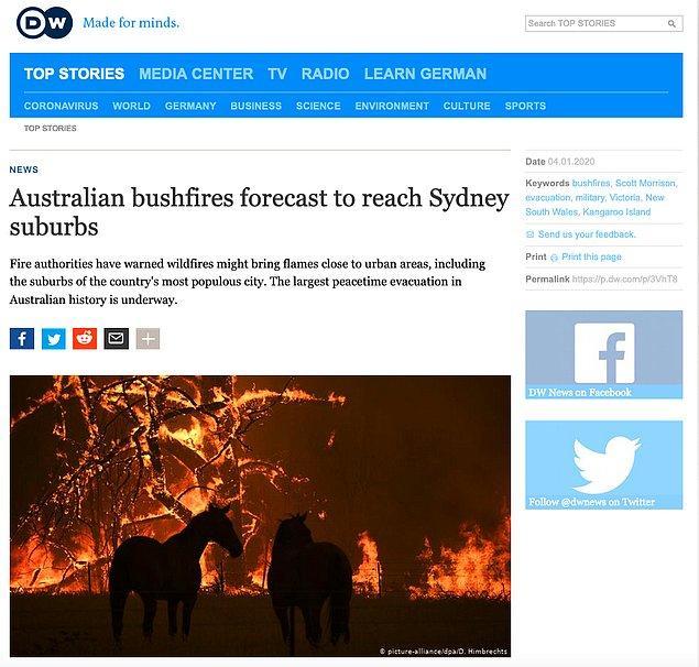 Fotoğrafın orijinaline Australian AP arşivinden erişilebilirken, Deutsche Welle'nin 4 Ocak 2020 tarihli haberinde de fotoğrafın yer aldığı görülebiliyor.