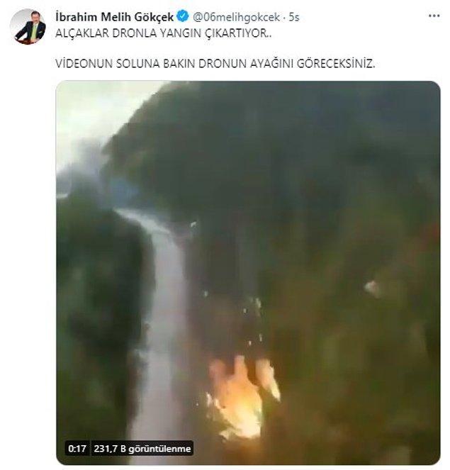 6. Son olarak sosyal medyada dolaşan başka bir videonun Türkiye'deki yangınların kundaklama olduğunu gösterdiği iddia edilmişti. Hatta iddia edenlerden bir tanesi de Ankara'nın eski belediye başkanı Melih Gökçek olmuştu.
