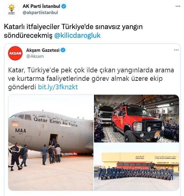 AKP, Katar'ın desteğini alıntıladığı tweette 'Katarlı itfaiyeciler Türkiye'de sınavsız yangın söndürecekmiş' ifadelerini kullandı.