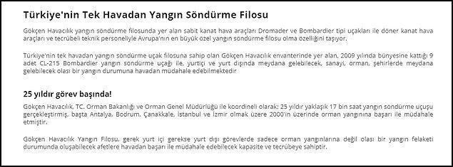 Türk Hava Kurumu'nun kuruluşu olan Gökçen Havacılık'ın web sitesinde şu bilgiler yer alıyor. 👇