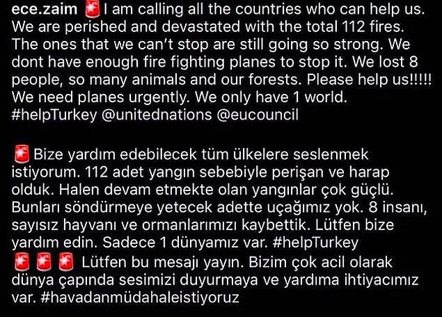 Milyonlarca insan birçok sosyal medya mecrasında #helpturkey etiketiyle Ünlü şef Ece Zaim'in başlattığı ve farklı dillerde yayınladığı yardım açıklamasını paylaştı.