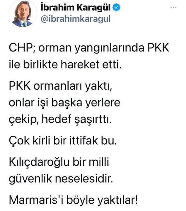 2. Yandaş gazeteci İbrahim Karagül, gelen tepkilerden sonra bu tweetini sildi. Ancak birkaç kullanıcı kendisi hakkında savcılığa suç duyurusunda bulunacağını açıkladı.