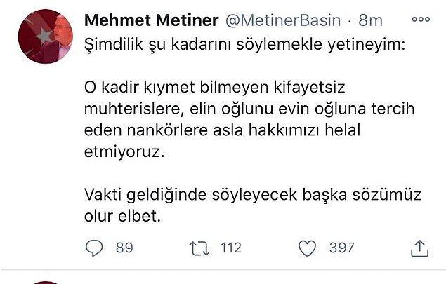 8. Berat Albayrak görevden affını rica ettiğinde Mehmet Metiner'in attığı tweet böyleydi. Metiner daha sonra Albayrak'ı görevden alan kişinin Cumhurbaşkanı Recep Tayyip Erdoğan olduğunu öğrenince paylaşımını sildi.