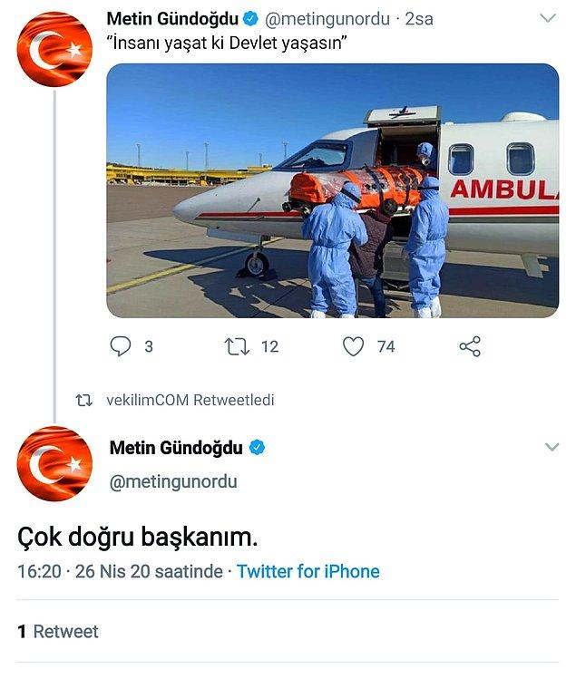 9. Kendi kendini tebrik eden AKP'li milletvekili Metin Gündoğdu, yine kendi kendine tweet sildi.