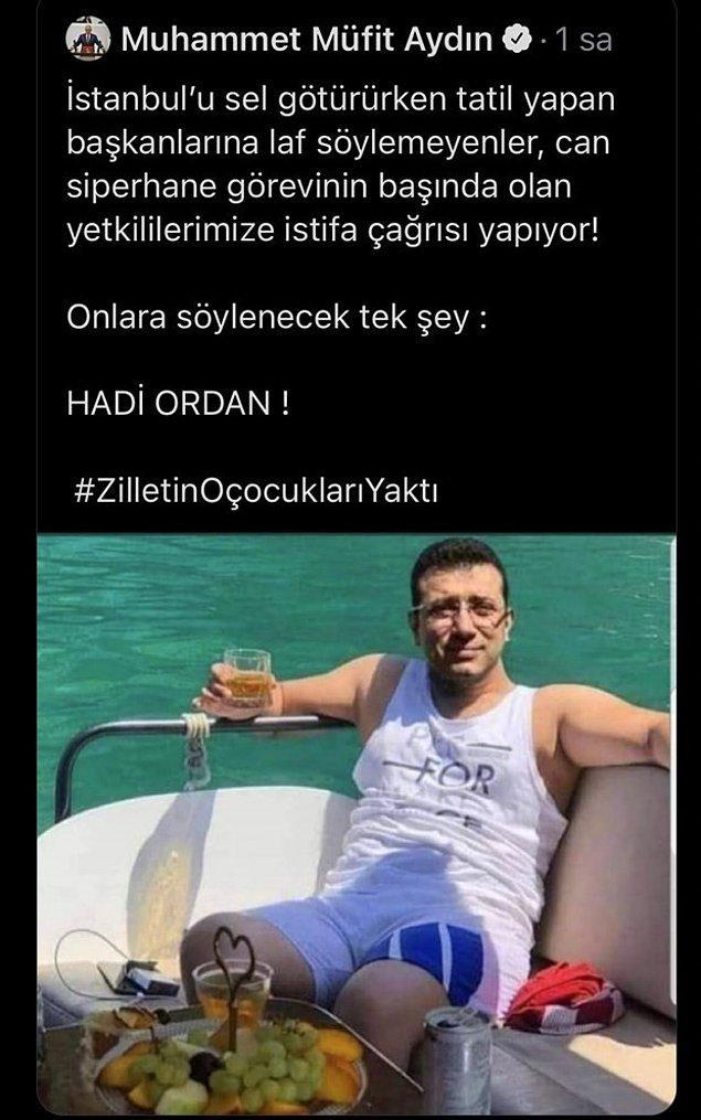 1. AKP'li Muhammet Müfit Aydın'ın photoshop olduğunu anlamadan attığı Ekrem İmamoğlu tweet'i, uyarılardan sonra silindi.