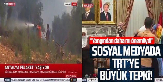 TRT Haber, ilk önce yangınlarla ilgili haber yaparken bir anda yangını bırakıp PKK'lıların aileleri ile buluşmasını yayınlayarak insanların tepkisini çekti.
